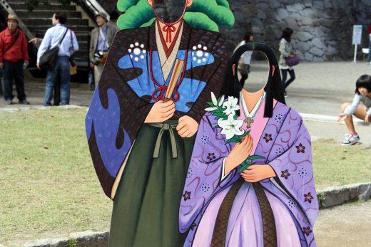 細川忠興と細川ガラシャ夫人の顔出しパネル