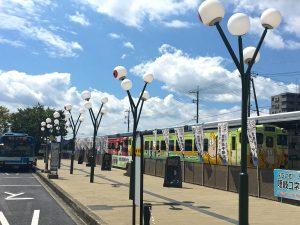 境港駅前の目玉の街燈